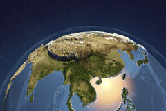 Planet Earth from space showing Asia Stock Photos