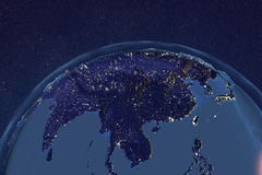Planet Earth from space showing Asia in night Stock Images