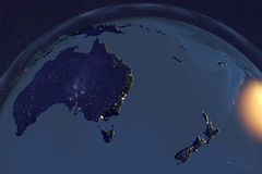 Planet Earth from space showing Australia in nig Stock Image
