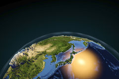 Planet Earth from space showing Japan Royalty Free Stock Photography