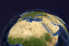 Planet Earth from space showing Northern Africa and Arabian Peninsula Royalty Free Stock Images