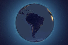Planet Earth from space showing South America in night Royalty Free Stock Photos