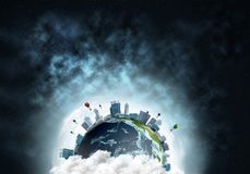 Planet Earth space view. Abstract image of space view at planet Earth in clouds with buildings and aerostats. Dark space haze on background. Elements of this Stock Photography