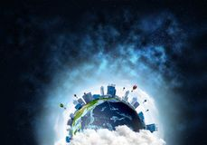 Planet Earth space view. Abstract image of space view at planet Earth in clouds with buildings and aerostats. Dark space haze on background. Elements of this royalty free illustration