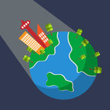 Planet Earth space view vector concept. Planet earth space view with buildings and trees. Vector illustration in flat design. For ecological, touristic or other stock illustration