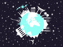 Planet earth in space. World landmarks of architecture. Travel around the world. Vector Stock Photo