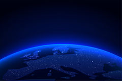 Planet Earth with a spectacular light. Blue globe earth and light horizon from space background. Vector illustration Stock Image