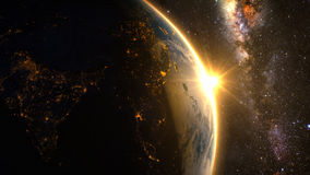 Planet Earth with a spectacular sunrise vector illustration