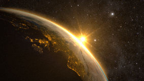 Planet Earth with a spectacular sunrise Stock Image