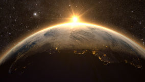 Planet Earth with a spectacular sunset, Royalty Free Stock Images