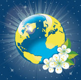 Planet earth with spring flovers.View from space Stock Photos
