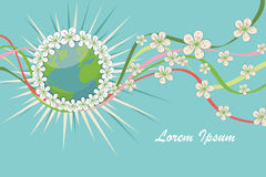 Planet earth with spring flowers,curly ribbons.eps Stock Photo