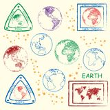 Planet Earth Stamps Set royalty free illustration