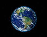 Planet Earth with stars, globe model isolated on black. Elements. Of this image furnished by NASA Stock Photo