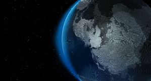 Planet earth with stars at night, 3d graphic render.  Stock Illustration