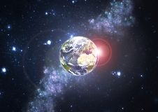 Planet Earth with stars and Sun Stock Photography
