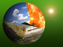 Planet Earth and the sun. A collage of the four elements on a globe with the sun on the background