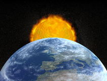 Planet earth and sun stock illustration