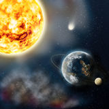 A planet is Earth and Sun. Illustration. Planet Earth in space near a sun, on a background dark sky, natural companion Luna moves around Royalty Free Stock Images