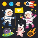 Planet earth, sun and galaxy, spaceship and little astronaut Stock Photo