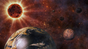 Planet Earth, The Sun, The Moon and Planets 3D Rendering Royalty Free Stock Photography