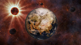 Planet Earth, The Sun, The Moon and Planets 3D Rendering Royalty Free Stock Photos