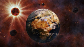 Planet Earth, The Sun, The Moon and Planets 3D Rendering Royalty Free Stock Photo