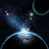 Planet earth with sun rising Royalty Free Stock Photography