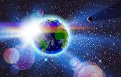 Planet Earth & Sun in Space Stock Photography
