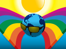 Planet Earth with sunglasses on crossing rainbows Stock Photography