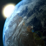 Planet Earth, sunrise. Background with a Planet Earth,sunrise Royalty Free Stock Photo