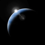 Planet earth with sunrise in space Royalty Free Stock Photo
