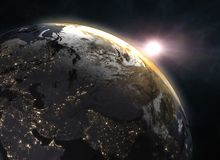 Planet Earth with sunrise in the space - Europe. Elements of this image furnished by NASA. 3d illustration Stock Image