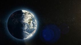 Planet earth with sunrise in space, Rising Sun over Earth. Earth planet.  Royalty Free Stock Images