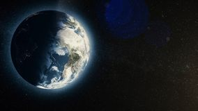 Planet earth with sunrise in space, Rising Sun over Earth. Earth planet.  Royalty Free Stock Photos