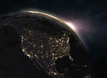 Planet Earth with sunset - North America Stock Photography