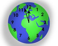 Time running out for planet earth. Planet earth superimposed with a clock face showing that time is running out to save our planet. On white background. Almost royalty free stock images
