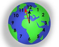Time running out for planet earth. Planet earth superimposed with a clock face showing that time is running out to save our planet. On white background. Almost stock image