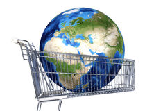 Planet Earth into supermarket trolley. Africa, Europe and Asia v. Iew. On white background. Clipping path included. Souce maps offered by Nasa Stock Photography