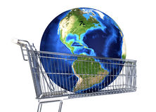 Planet Earth into supermarket trolley. Americas view. Souce maps Royalty Free Stock Photo