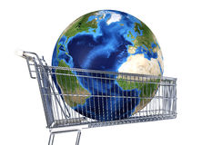 Planet Earth into supermarket trolley. Atlantic view. Souce maps. Planet Earth into supermarket trolley. Atlantic view. On white background. Clipping path Stock Photography