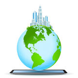 Planet Earth on Tablet Computer Stock Images