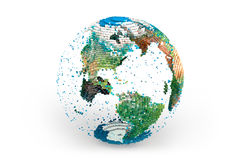 Planet Earth. Planet of thousands cubes against white background; High-quality 3d render Royalty Free Stock Photo