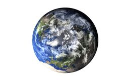 Planet Earth top side of solar system isolated. Elements of this image furnished by NASA. stock photos