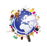 Planet earth with travel icon illustration royalty free illustration