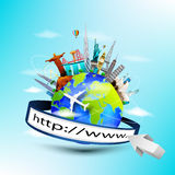 Planet earth travel the world concept with address bar on blue sky background Royalty Free Stock Photography