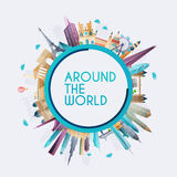 Planet earth travel the world. Travel. And tourism background stock illustration