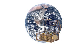 Planet Earth with Treasure Chest Isolated. Isolated image of planet earth with a treasure chest and gold coins Stock Photo