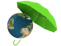 Planet Earth under defense umbrella Royalty Free Stock Image
