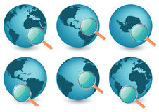 Planet Earth Under Magnifier. Vector illustration of planet earth under magnifier Stock Photography